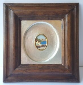 Mosaic Picture, Natural Stone, Wood Frame, Um 1950 - 1960 K628