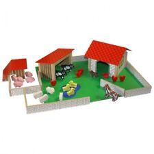 Viele Plastik-Tiere 61 Teile Bauernhof Holzspielzeug Set