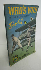 WHO'S WHO In The Major Leagues BASEBALL 1950