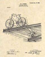 Official Railroad Bicycle US Patent Art Print- Vintage Antique Train Bike 429