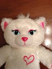 "Build a Bear PINK & WHITE KITTY CAT 18"" PLUSH  STUFFED ANIMAL TOY HEART."