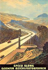 ART Tedesco reichsautobahnen AUTOSTRADA Autobahn Travel Poster stampati