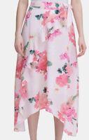Calvin Klein Women's Skirt Petal Pink Size 4 Maxi Floral Ruffle Front $99- #496