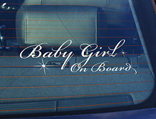 Static Cling Window Car Sign/Decal Baby Girl on Board 100mm x 250mm