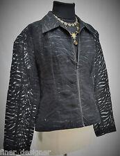 NABI BLACK BURNOUT Jungle SHEER TOP JACKET light coat zip up animal SIZE XL NEW