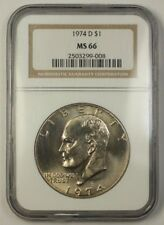 "1974 US Eisenhower ""Ike"" One Dollar Coin $1 NGC MS-66 Gem"