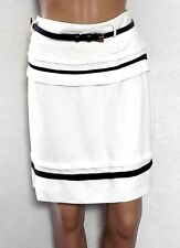 REVIEW skirt, ivory (off white), black trim - with belt, sz. 12