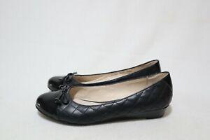 Supersoft by Diana Ferrari Size 8.5 Womens Black Leather Mini Wedge Flats