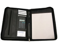 A4 Quality Leather Documents Portfolio Conference Folder with Calculator and Pad