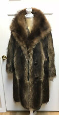 RARE  Vintage C. 1938 Womens Wool Lined Racoon Fur Winter Coat Mint Condition