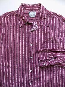 LUCKY BRAND Mens Button front Shirt Size XL Dark Red Beige Spirals LS
