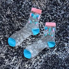 New Cute Clear Invisible Glass Ankle Women's Socks Pink Blue Trees Flowers
