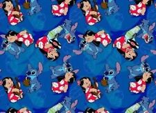 FAT QUARTER DISNEY COTTON FABRIC LILO & STITCH FRIENDS FOREVER  HAWAII OHANA  FQ