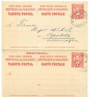 PARAGUAY 1896 4C+4C GA-Antwortkarte (DOPPELKARTE!!!) an Fa. HUGO MICHEL, APOLDA