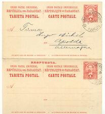 Paraguay 1896 4c+4c GA-réponse Carte (double carte!!!) à FA. Hugo Michel, APOLDA