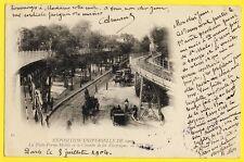cpa Rare France PARIS EXPO 1900 TROTTOIR Tapis ROULANT CHEMIN de FER ELECTRIQUE