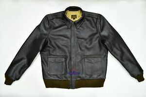 Men A-2 Repro Military Flight Jacket Real Cowhide leather Seal Brown WWII Bronco