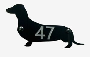 Dachshund Wiener Dog Door House Number Sign Plaques in Black
