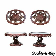 Vintage Mid Century Modern Mediterranean Style Carved Wood Glass Top End Tables