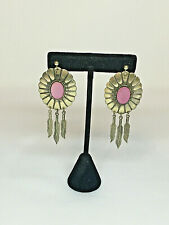 Native American Sterling Silver MOP Hanging Feathers Earrings