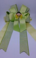Equestrian Horse Show Hair Bows W/ French Clip Green and stripped  Ribbon