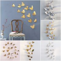 12Pcs 3D Removable Butterfly Wall Stickers Art Decal Home Room Decoration HOT