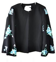 TAHARI Womens Size 10 Black Floral Embroidered Bell Sleeve Blazer Jacket