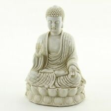 Zen Meditating Buddha Statue White Stone Finish Garden Yard Altar Decor