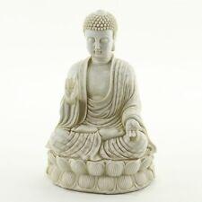 Zen Meditating Buddha Statue White Stone Finish Garden Yard Altar Decor