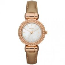 DKNY Ladies Petite Metalic Gold Leather Watch NY8563