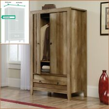 Rustic Oak Finish Armoire Wood Wardrobe Storage Cabinet Closet Drawer Furniture