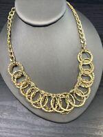 "Ladies Statement Necklace Hammered Gold  18"" Chain Bib Dangle Circles"