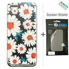 BACK+FACE Daisy Cool Hard Plastic Case + Screen Protector for Apple iPhone 5 5S
