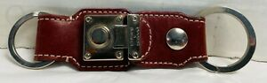 *DOONEY & BOURKE*Red Leather* Key Ring Fob Chain 21145D S166