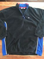 Mens Vintage Fila 1/4 Zip Black Fleece Jacket Size 2XL III