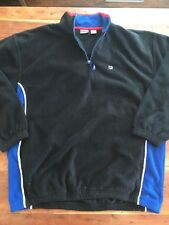 Mens Vintage Fila 1/4 Zip Black Fleece Jacket Size 2XL III