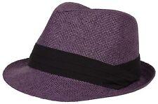 Mens Womens Summer Plain Light Paper Straw Fedora Trilby Hat Hats Gangster Black