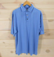 FootJoy FJ Men's Large Golf Polo Shirt Blue Striped Prudential Logo Embroidered