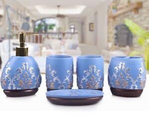 Luxury 5pcs Bathroom accessories set Soap Dish&Dispenser&Cups&Toothbrush holder