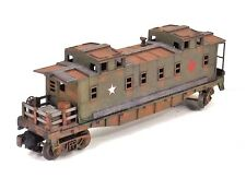 O LIONEL CABOOSE FLAT CAR  MILITARY HOSPITAL CRATES BOXES BARREL CUSTOM COLLECT