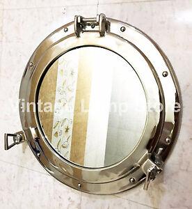 """17"""" Silver Porthole Mirror~Nautical Window Porthole~Ship & Home Wall Decor"""