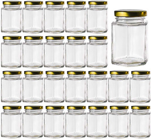 25 Pack Glass Jars With Lids Mason Jar Spice Honey Small Hexagon Containers