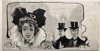 PAUL MARIE LAPIERRE-RENOUARD Dessin Original Encre Belle Epoque Elegante 1900