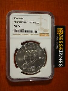 2003 P $1 UNCIRCULATED SILVER FIRST FLIGHT COMMEMORATIVE DOLLAR NGC MS70