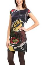 DESIGUAL BIBI DRESS S-XXL 10-18 RRP£74 BLACK ABSTRACT PATTERN FITTED SCOOP BACK