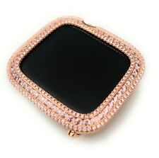 Series 4,5,6 Rose Gold Apple watch band or Pink Zirconia Bezel Face Case Cover