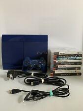 PS3 PlayStation 3 Azurite Blue Console Bundle - 9 Games - Controller - #D3