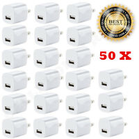 50x White 1A USB Power Adapter AC Home Wall Charger US Plug FOR iPhone 5S 6 7 8