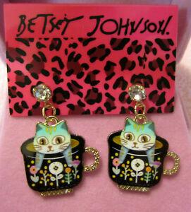 Coffee Cup Cat Earrings~Betsey Johnson