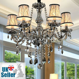 K9 Crystal Chandelier SMOKY 2/6/8/10/12 Arm Pendant Light Candle with Lampshade